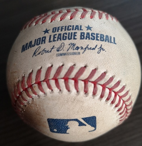 Photo of Authenticated Game Used Baseball: Double by Cameron Maybin and 2 RBI Single by Mike Tauchman against Buddy Boshers (Aug 8, 19 vs NYY). Top 9.