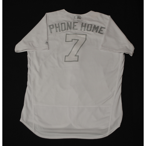 """Photo of Eric """"PHONE HOME"""" Thames Milwaukee Brewers Game-Used 2019 Players' Weekend Jersey"""