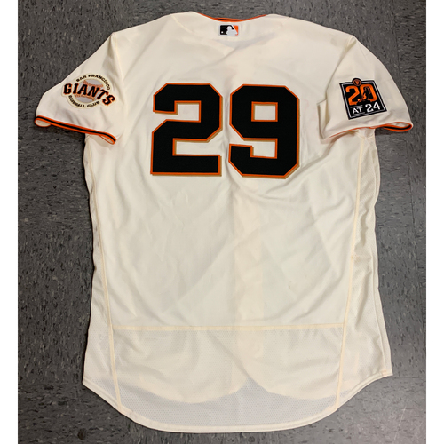 Photo of 2020 Game Used Home Jersey worn by #29 Jeff Samardzija on 7/28 Home Opening Day vs. San Diego Padres - Opening Day Starter - 4.0 IP, 1 K - Size 50