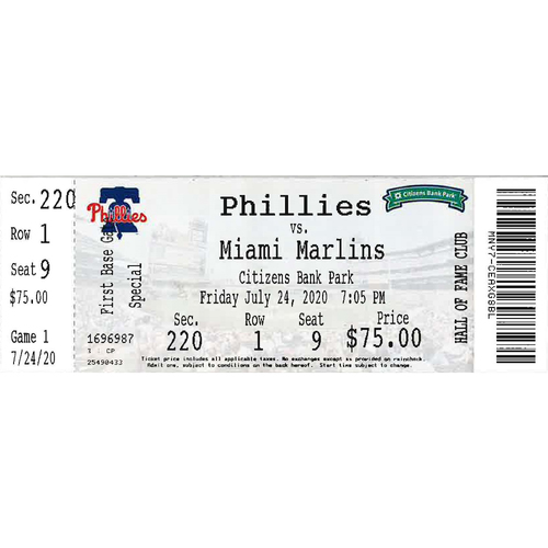 Photo of July 24, 2020 Ticket(Opening Day): Phillies vs. Marlins