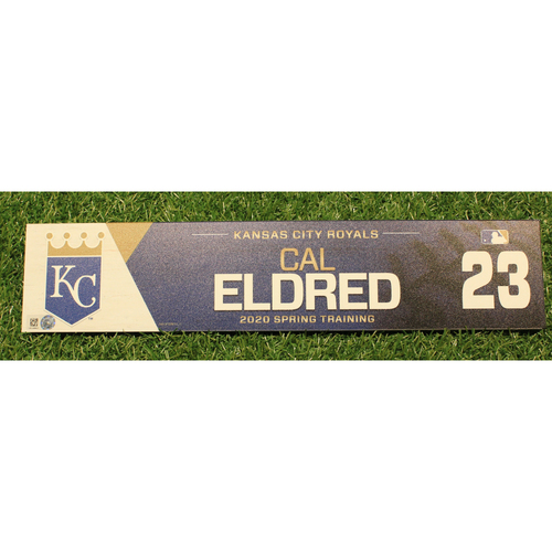 Photo of Game-Used 2020 Spring Training Locker Tag: Cal Eldred #23