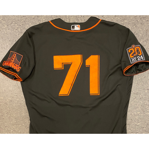 Photo of 2020 Game Used Black Home Alt Jersey worn by #71 Tyler Rogers on 8/1 vs. TEX (1.0 IP, K, HOLD) & 9/26 vs. SD - Size 46