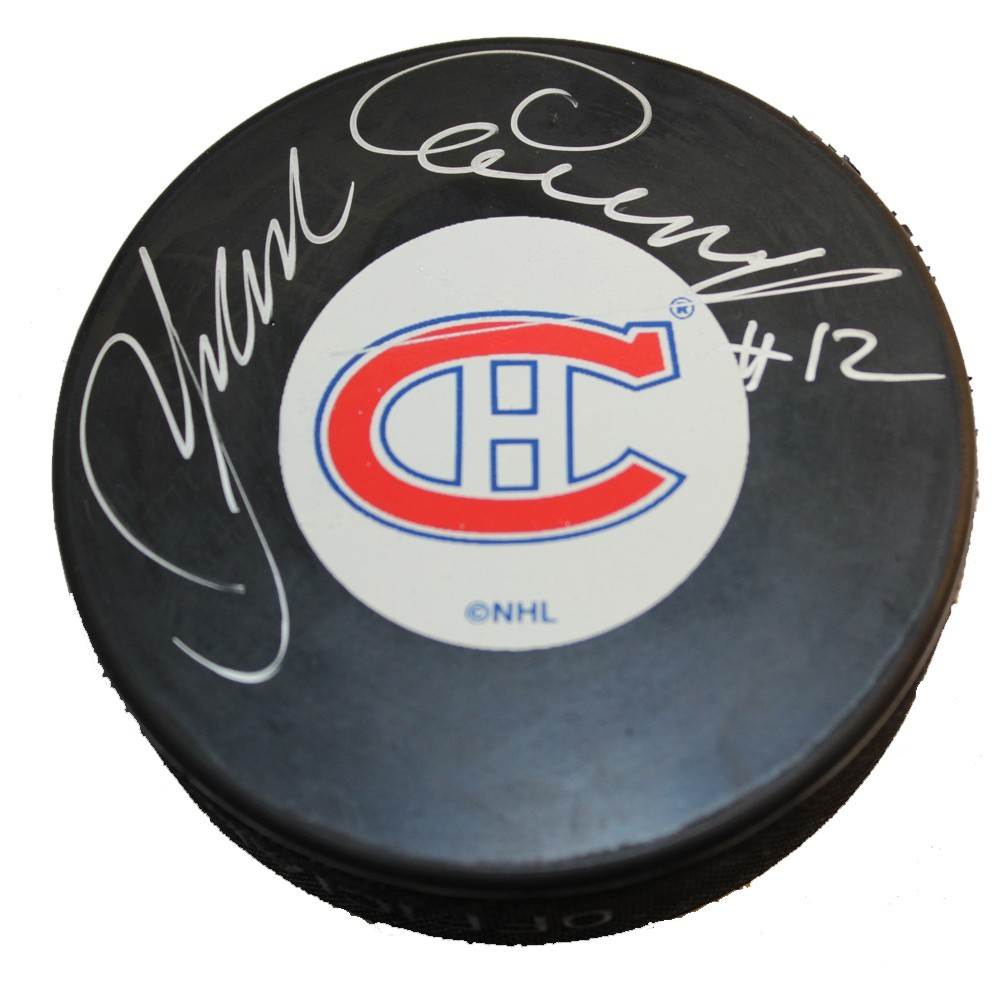 Yvan Cournoyer Autographed Montreal Canadiens Puck