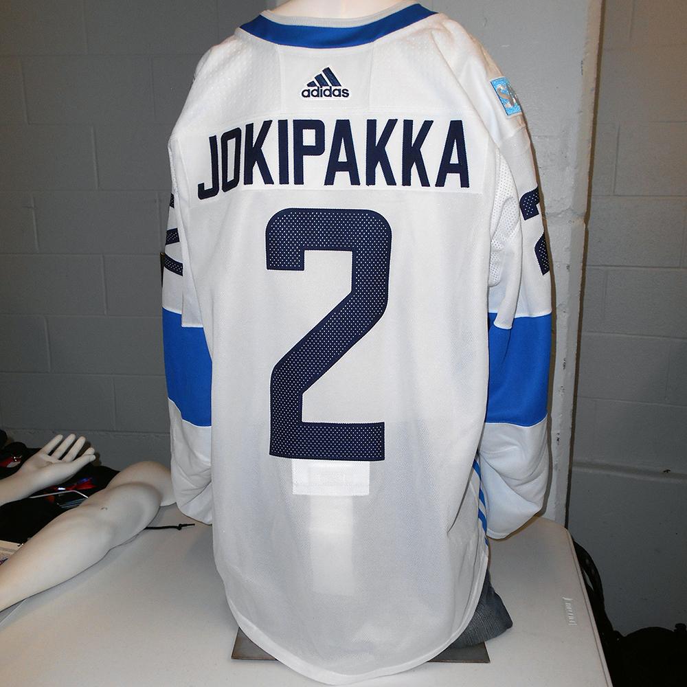 8366c6473 ... Jyrki Jokipakka Calgary Flames Game-Used Away 2016 World Cup Of Hockey  Team Finland Jersey ...