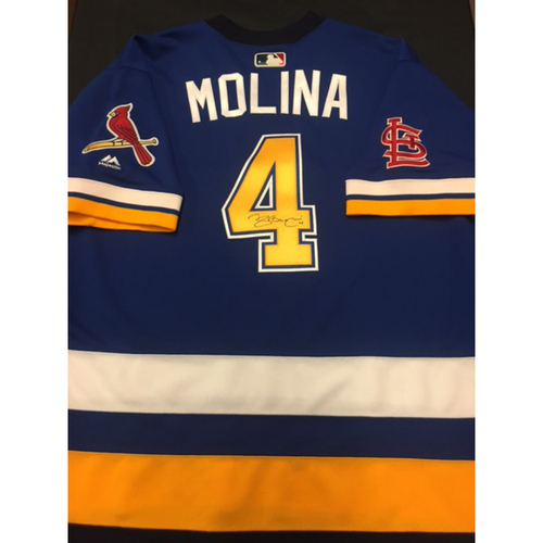 b718add79 Cardinals Care Auction: Yadier Molina Autographed Team-Issued St. Louis Blues  Themed Cardinals
