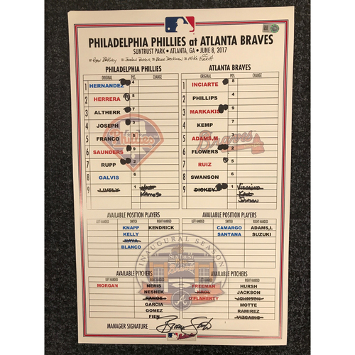 Photo of Game-Used Lineup Card - 6/8/17 - Phillies at Braves - Today Only $35!