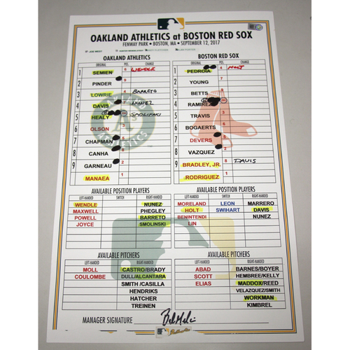 Photo of Lineup Card - 9/12/17 Oakland Athletics at Boston Red Sox