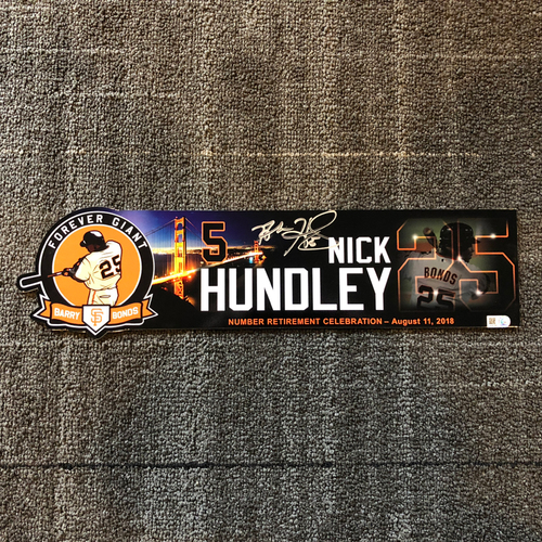 Photo of 2018 San Francisco Giants - Autographed Locker Tag - #25 Number Retirement Game - #5 Nick Hundley
