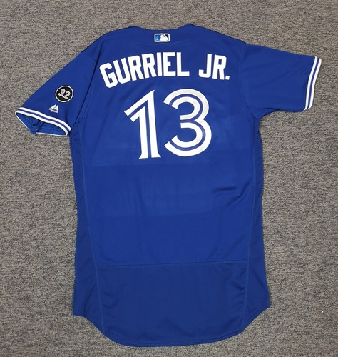 Photo of Authenticated Game Used Jersey - #13 Lourdes Gurriel Jr. (April 20, 2018: 2-for-5 with 3 RBIs). Size 44. MLB Debut Jersey.