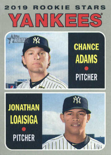 Photo of 2019 Topps Heritage #189 Chance Adams RC/Jonathan Loaisiga RC