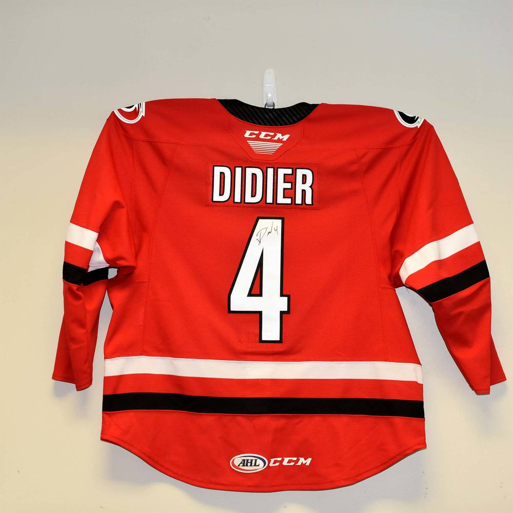 Charlotte Checkers 2019 Calder Cup Finals Game 1 Jersey Worn and Signed by #4 Josiah Didier