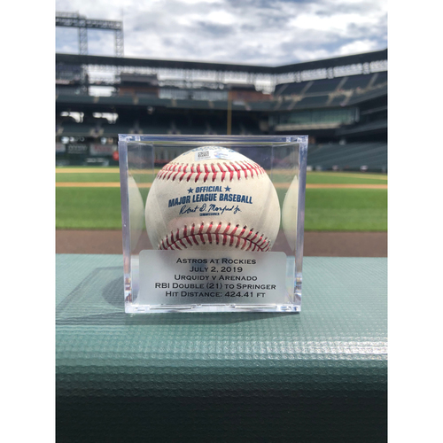 Photo of Colorado Rockies Game-Used Baseball - Pitcher: Jose Urquidy, Batter: Nolan Arenado - RBI Double (21) to George Springer - July 2, 2019 vs. Astros
