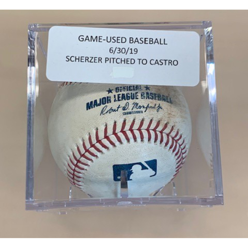 Photo of Game-Used Baseball: Max Scherzer Pitched to Harold Castro