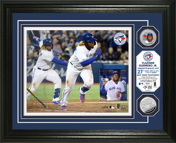 Toronto Blue Jays Guerrero Jr. MLB Debut Silver Coin Framed Photo by Highland Mint