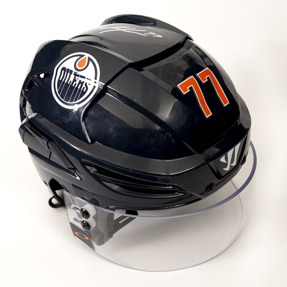 Oscar Klefbom #77 - Autographed 2019-20 Edmonton Oilers Game-Worn Navy Blue Warrior Helmet With HFC Decal (First Half Of Season, Worn Up To Nov 6th vs St. Louis)