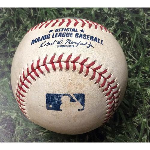 Photo of Game-Used Baseball SF@MIL 07/13/19 - Zach Davies - Evan Longoria: Single