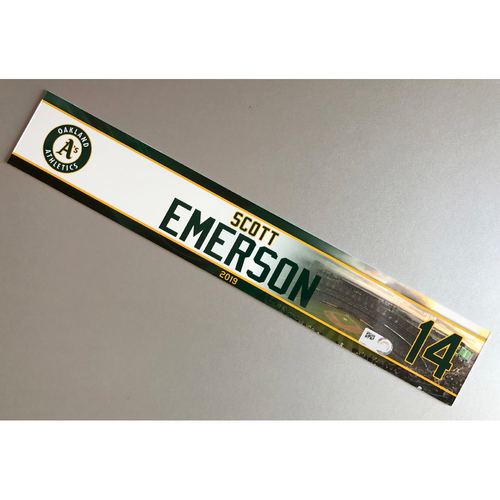 Photo of Team-Issued Scott Emerson 2019 Locker Nameplate