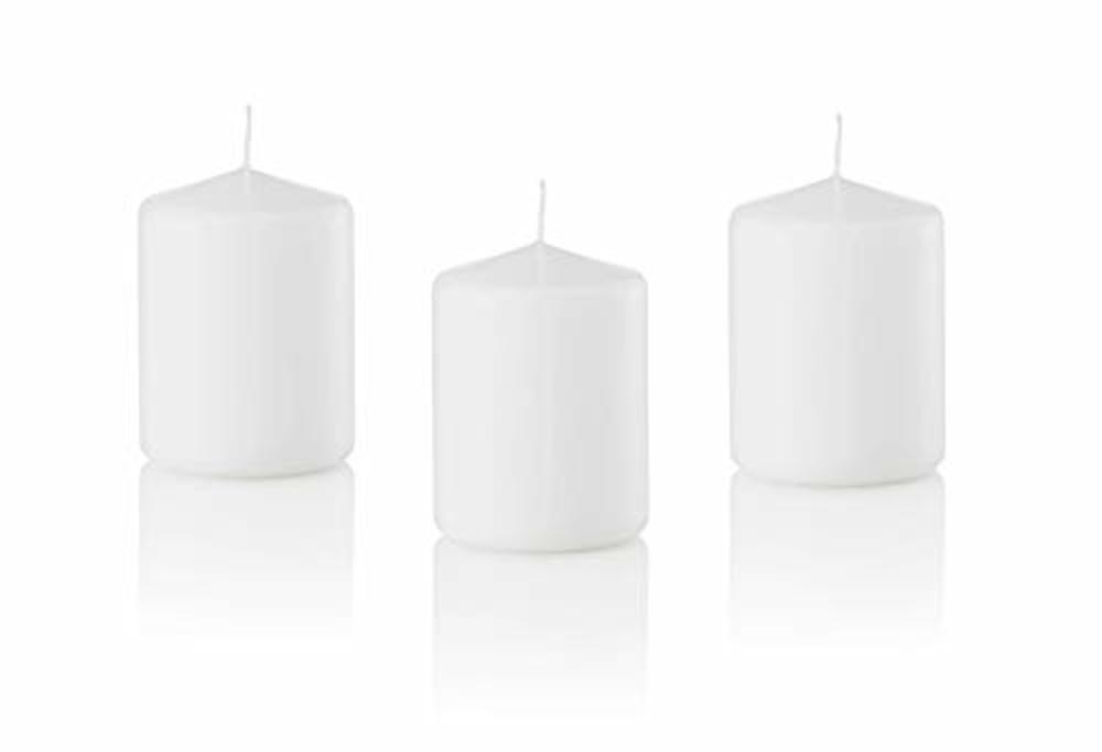 Photo of D'light Online 3 X 4 Pillar Candles Bulk Event Pack Round Unscented White Pillar Candles Qty 12 - (White)