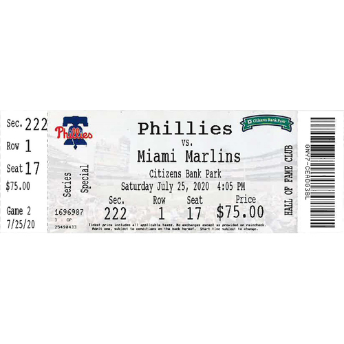 Photo of July 25, 2020 Ticket(Zack Wheeler 1st Phillies Win): Phillies vs. Marlins