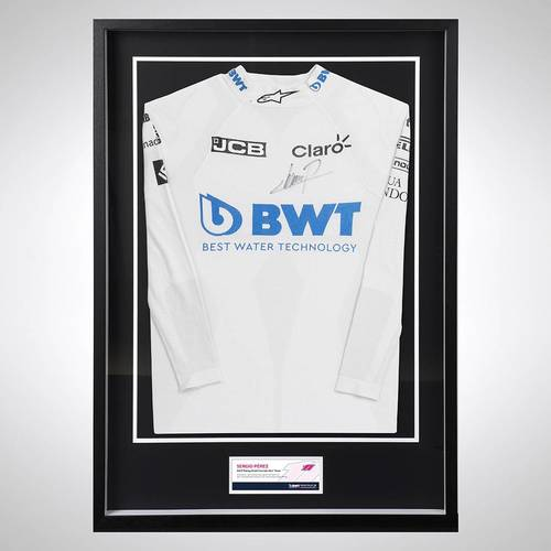 Photo of Sergio Perez 2020 Framed Signed Race-used Nomex