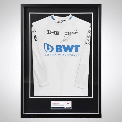 Photo of Sergio Perez 2020 Framed Signed Race-used Nomex