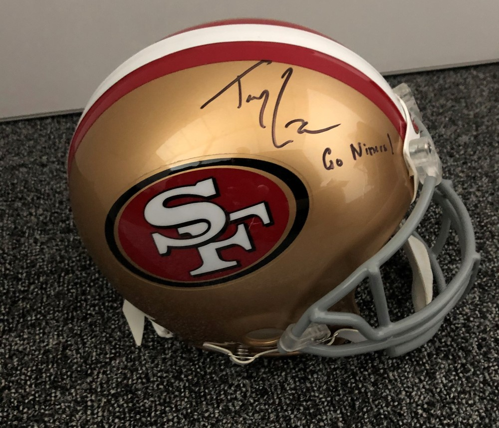 Trey Lance Autographed 49ers Helmet - Signed Backstage at Draft - 1st 49ers item Trey signed after being drafted