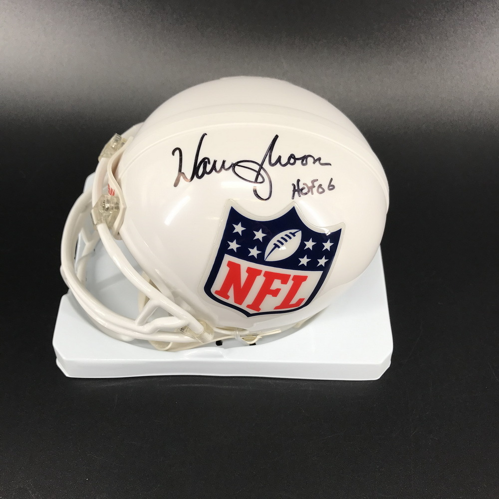 Legends - Oilers Warren Moon Signed White NFL Shield Mini Helmet