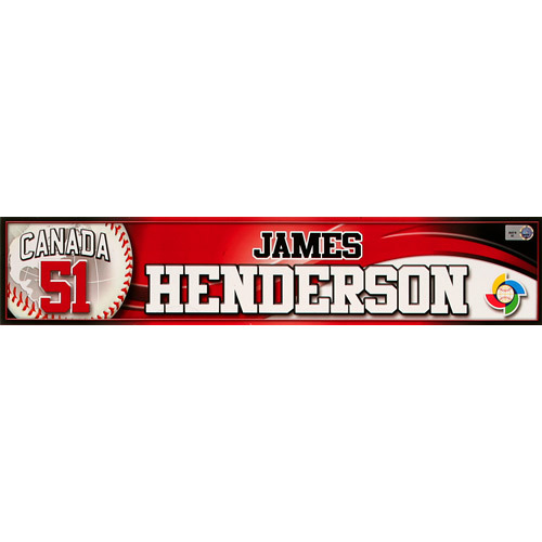 Photo of 2013 World Baseball Classic: Jim Henderson (CAN) Game-Used Locker Name Plate