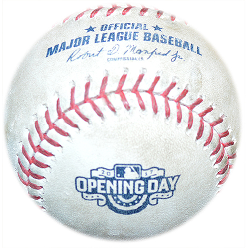 Photo of Game Used Baseball - 2017 Opening Day Logo - Julio Teheran to Noah Syndergaard - Strikeout - Julio Teheran to Jose Reyes - Foul Ball - 3rd Inning - Mets vs. Braves - 4/3/17