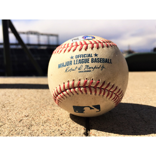 Photo of Colorado Rockies Game-Used Baseball Eric Thames - Triple, Neil Walker - Single, Ryan Braun - Lineout