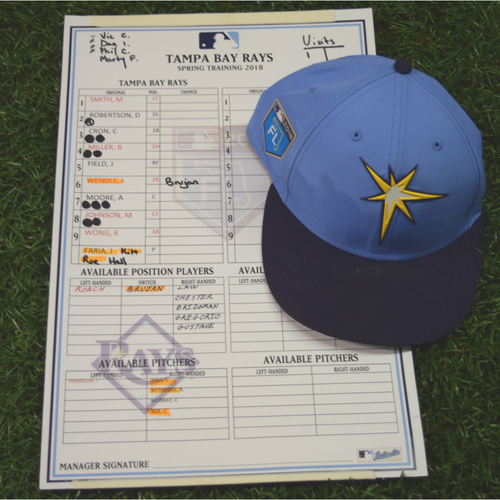 2018 Spring Training Game Used Cap: Joey Wendle