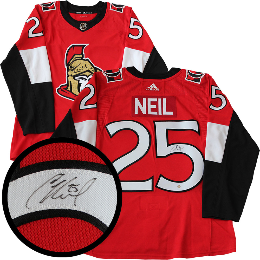 Chris Neil Signed Jersey Senators Pro Red 2017-2019 Adidas