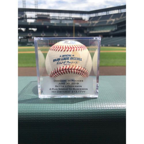 Photo of Colorado Rockies Game-Used Baseball - Pitcher: Chad Bettis, Batter: Joc Pederson - 2-Run Single to Charlie Blackmon - June 30, 2019 vs. Dodgers