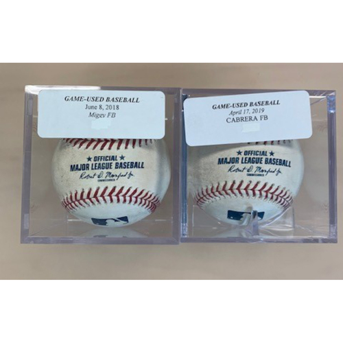 Photo of Two Game-Used Baseballs: Miguel Cabrera Foul Ball