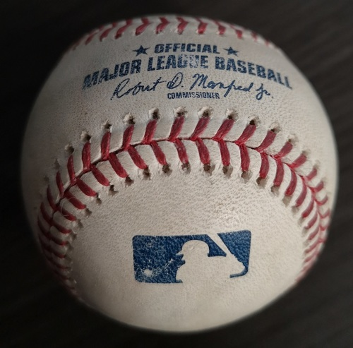 Photo of Authenticated Game Used Baseball: Double by DJ LeMahieu against Sean Reid-Foley (Aug 9, 19 vs NYY). Top 5.