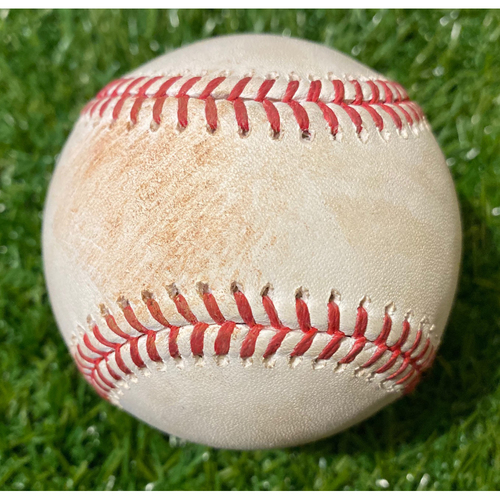 Photo of Game-Used Baseball: Juan Lagares 482nd Career Hit and Aaron Altherr 222nd Career Hit (8/17/19 - NYM @ KC)