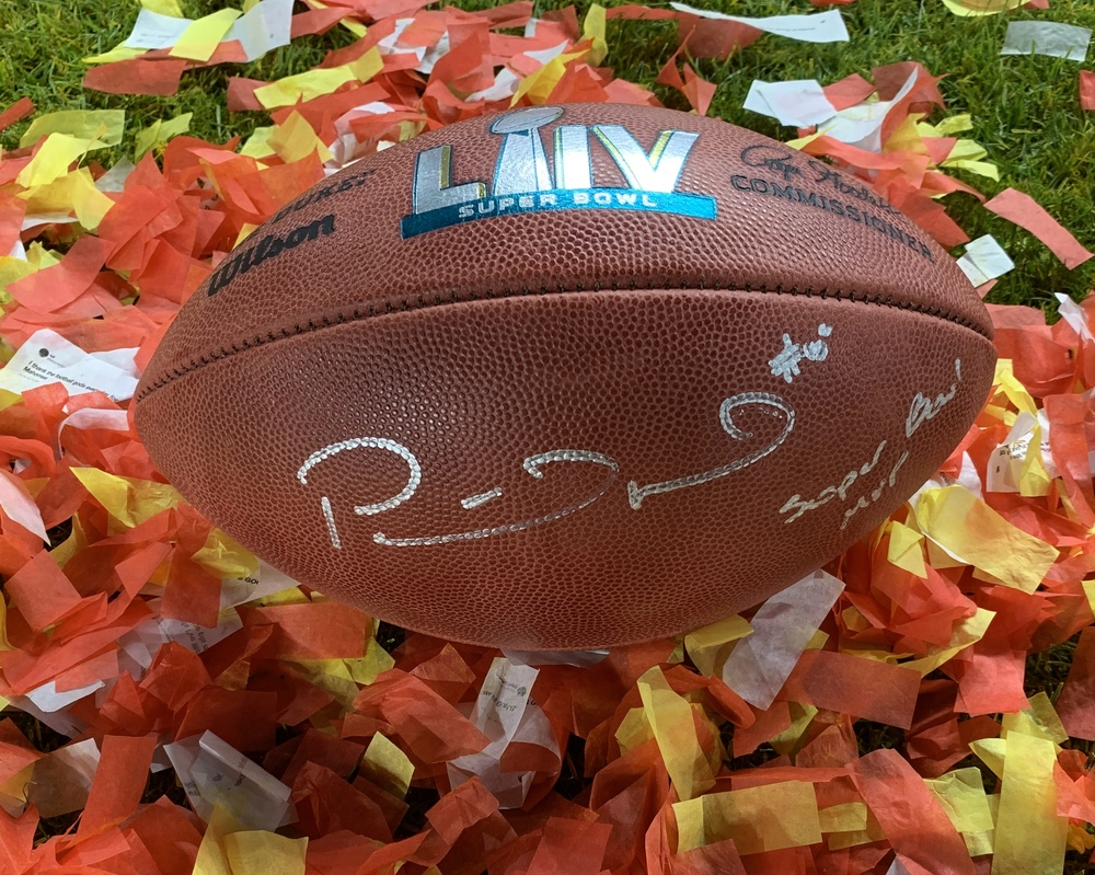 SBLIV Football signed by Patrick Mahomes w/ Super Bowl MVP inscription - 1st official autograph after the game - The money raised in this auction will be donated to 15 and The Mahomies Foundation