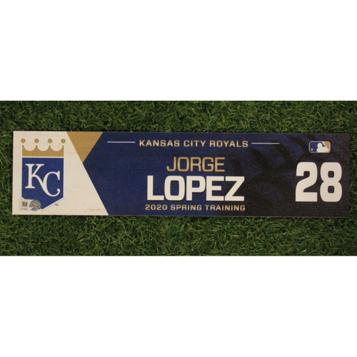 Photo of Game-Used Spring Training Locker Tag: Jorge Lopez #28