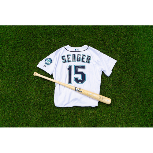 Photo of Kyle Seager Autographed Jersey & Autographed Bat