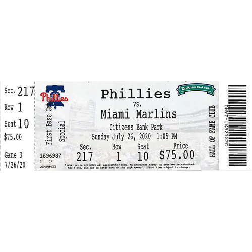 Photo of July 26, 2020 Ticket: Phillies vs. Marlins