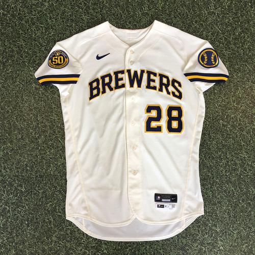 Photo of Ryon Healy 2020 Team-Issued Home Cream Jersey