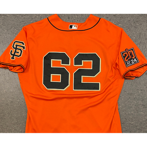 Photo of 2020 Game Used Orange Home Alt Jersey worn by #62 Logan Webb on 7/31 vs. TEX (3.2 IP, 4 K's) - Size 48