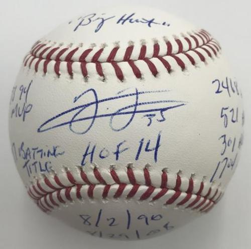 "Photo of Frank Thomas Autographed ""STATS"" Baseball"