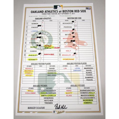 Photo of Lineup Card - 9/14/17 Oakland Athletics at Boston Red Sox