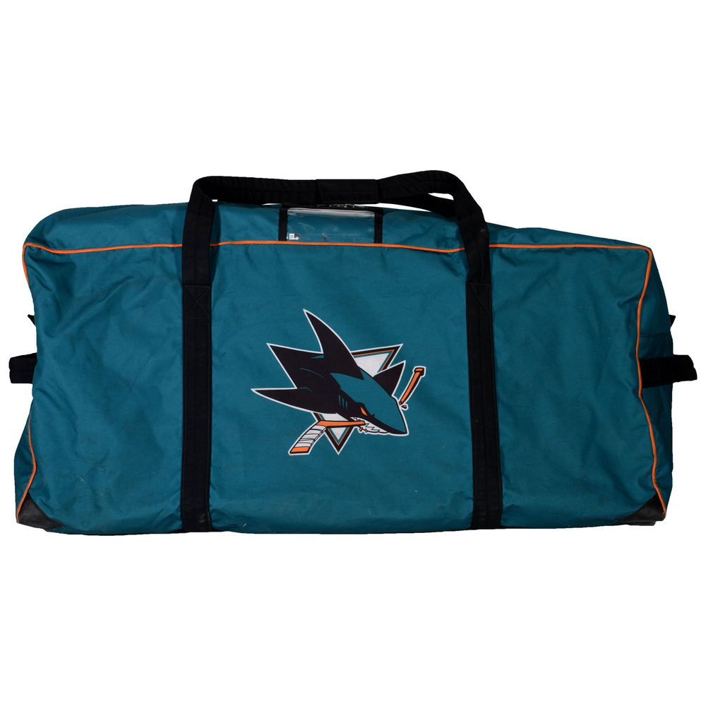 Chris Tierney San Jose Sharks Game-Used #50 Teal Equipment Bag From 2016-17 NHL Season