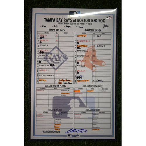 Photo of Game Used Line Up Card - April 7, 2018 - Tampa Bay Rays at Boston Red Sox