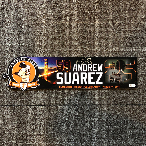 Photo of 2018 San Francisco Giants - Autographed Locker Tag - #25 Number Retirement Game - #59 Andrew Suarez