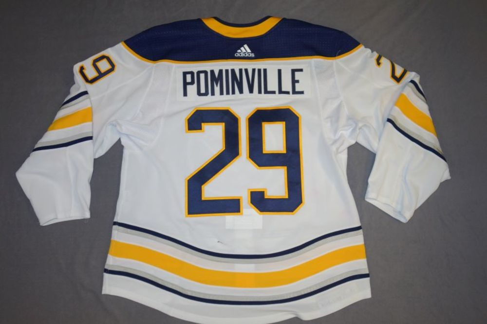 588feaf69 Jason Pominville 2017-18 Buffalo Sabres Game Worn Set 3 Away Jersey ...