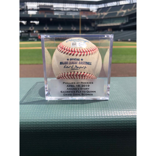 Photo of Colorado Rockies Game-Used Baseball - Pitcher: Victor Arano, Batter: Trevor Story  - Sacrifice Fly to Quinn - April 18, 2019 vs. Phillies