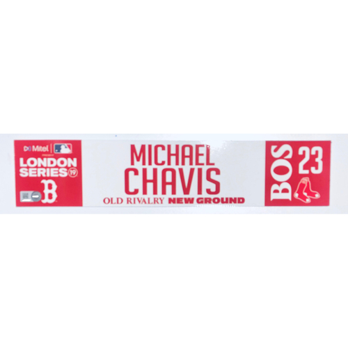 Photo of 2019 London Series - Game Used Locker Tag - Michael Chavis, New York Yankees vs Boston Red Sox - 6/30/2019